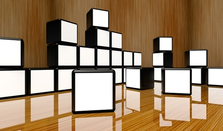 White screen video wall of many cubes on wooden background photo