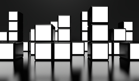 White screen video wall of many cubes on black background