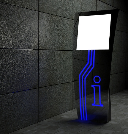 3d blank street touch screen stand at night photo