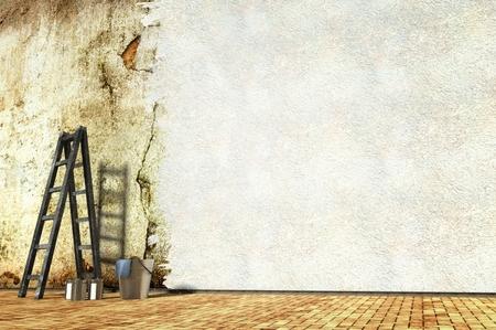 reparations: Renovaci�n de la pared del edificio, viejo y nuevo fondo