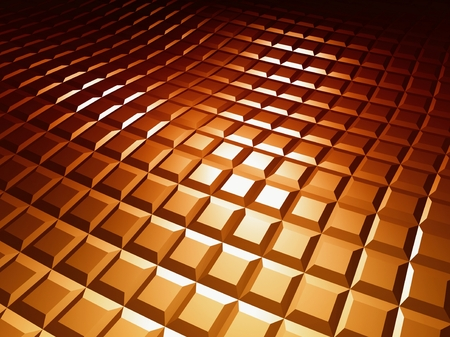 reiteration: 3d square pattern, brown background