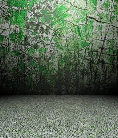 3d cracks wall and pavement, green texture interior photo