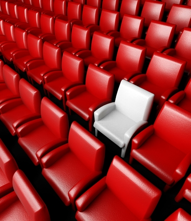 3d empty cinema hall with auditorium and one reserved seat photo