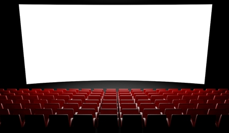 3d Empty cinema screen with auditorium Stock Photo
