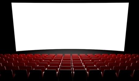 3d Empty cinema screen with auditorium Stock Photo