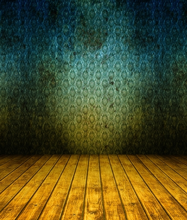 3d grunge wallpaper, blue texture in empty interior photo