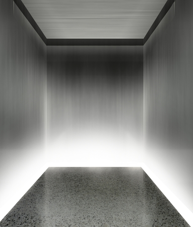 3d modern elevator interior with illumination photo