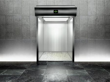 3d modern elevator with open door, illuminated photo