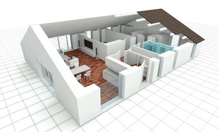 3D rendering house plan, model Zdjęcie Seryjne