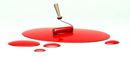 pintura derramada: Rodillo 3d y rojo derramado pintar con copia espacio