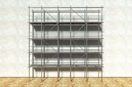 falsework: 3d scaffolding and renovated wall, refurbishment Stock Photo