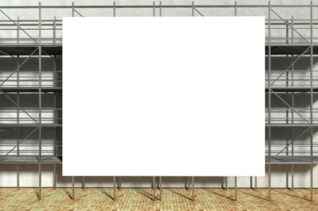3d scaffolding and blank advertising billboard with copy space Stock Photo