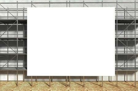 andamio: Andamio 3d y cartelera publicitaria en blanco, con copia espacio