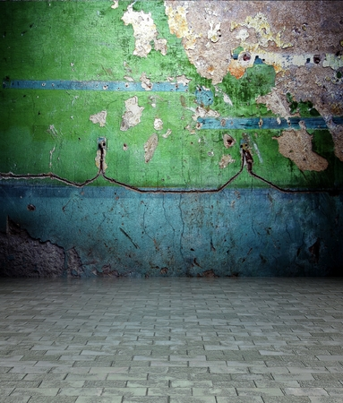 3d wall with peeling paint texture in empty interior photo