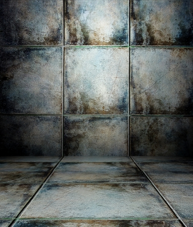 3d wall with tiles texture in empty interior photo