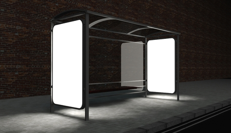 3d Blank billboard on bus stop at night with copy space