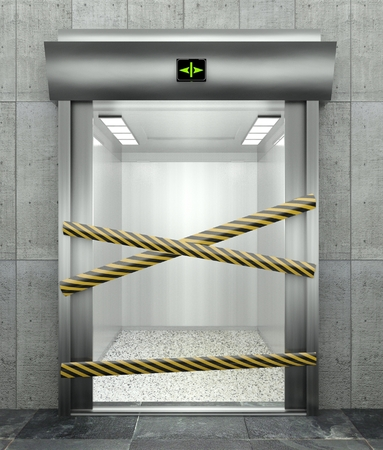 lift gate: 3d closed elevator with open door and caution tape
