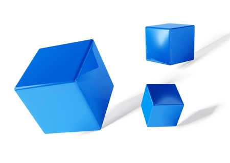 three objects: 3d cubes on white background, isolated