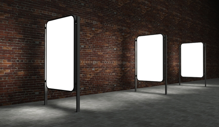 blank billboard: 3d Blank street advertising billboards on brick wall at night with ladder and bucket