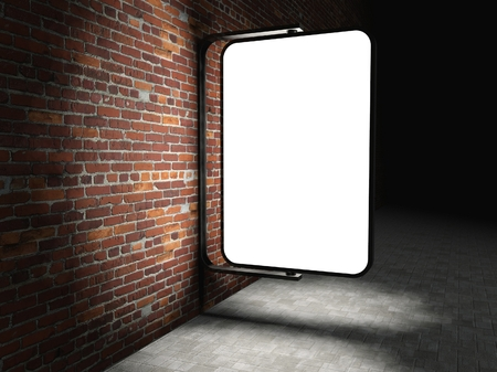 3d Blank street advertising billboard on brick wall at night with ladder and bucket photo