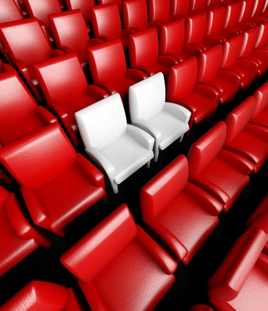 reserved seat: 3d empty cinema hall with auditorium and two reserved seat