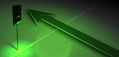 regulate: 3d green traffic light and arrow, business symbol Stock Photo