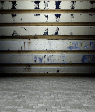 3d grunge metal texture in empty interior photo