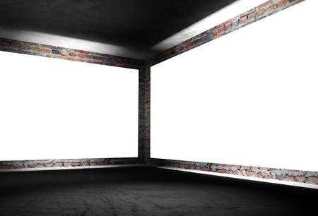 3d modern interior corner with white empty frames photo