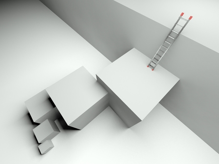 3d ladder of success, business symbol
