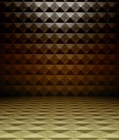 3d metal square tiles, brown texture interior photo
