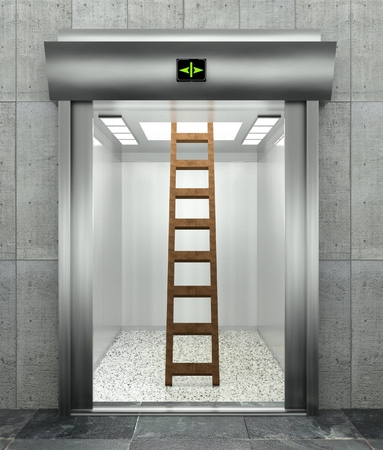 unexpected: 3d modern elevator with ladder, symbol of unexpected problem