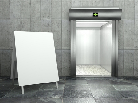 3d modern elevator with open door and empty frame photo