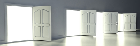 3d open doors in empty room with empty frames photo