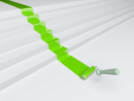 redecorate: 3d roller and green paint stripe on the stairs