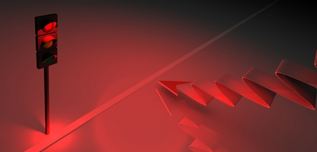 3d red traffic light and arrow, business symbol photo