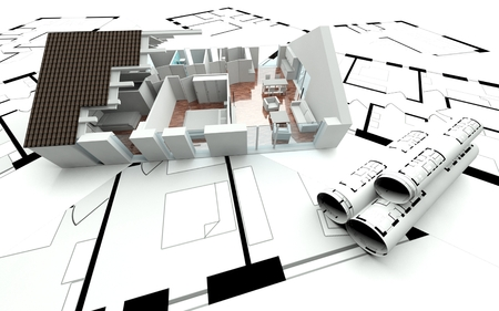 3D rendering house plan, model photo