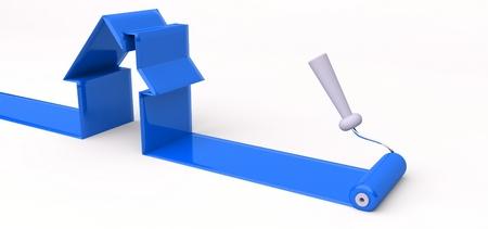 3 d ローラーと青いペンキ、家を建てるのシンボル