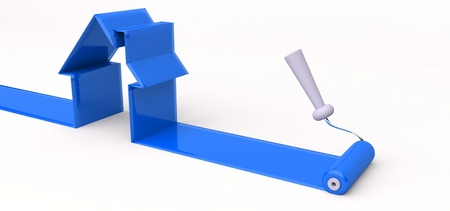 3d roller and blue paint, symbol of building a house