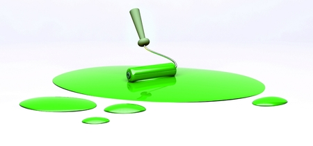 3d roller and green spilled paint with copy space photo
