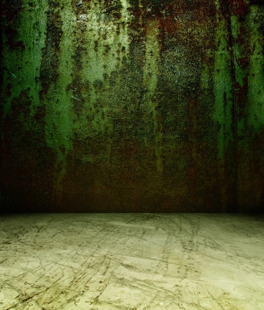 3d rusty metal wall, green texture interior photo