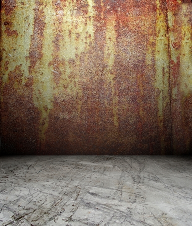 3d rusty metal wall, red texture interior photo