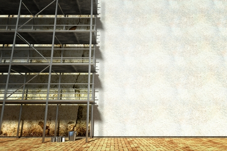 in the reconstruction: 3d scaffolding and renovated wall, refurbishment Stock Photo