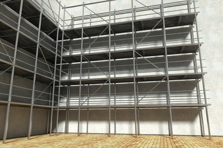 falsework: 3d scaffolding and renovated wall, refurbishment Stock Photo