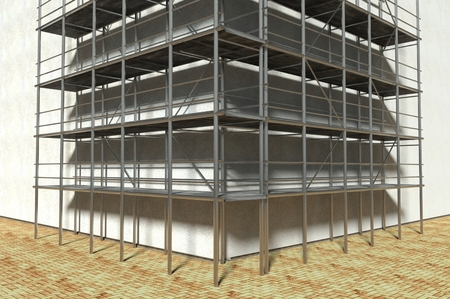 3d scaffolding and renovated wall, refurbishment Stock Photo