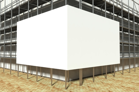 falsework: 3d scaffolding and blank advertising billboard with copy space Stock Photo