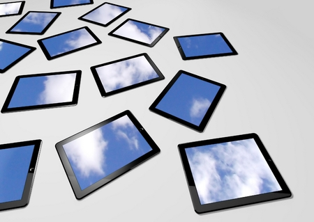 3d tablet pc with sky background on screens photo