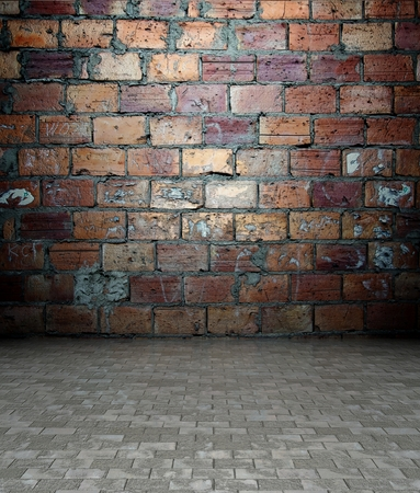 uncoated: 3d wall with brick texture in empty interior Stock Photo