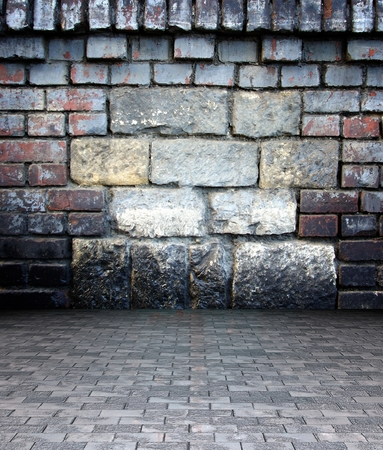 uncoated: 3d wall with stone and brick texture in empty interior
