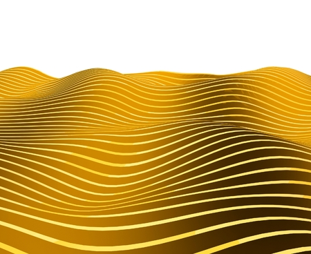 isolines: 3d wavy lines on white, background Stock Photo