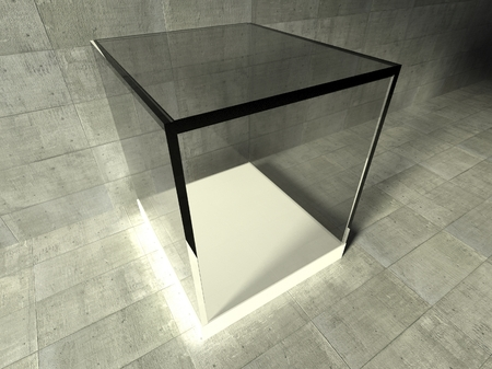 Empty glass showcase, 3d exhibition space photo